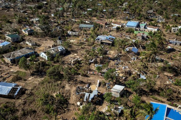 Aerial view of Buzi and the devastation caused by Cylone Idai. Mozambique
