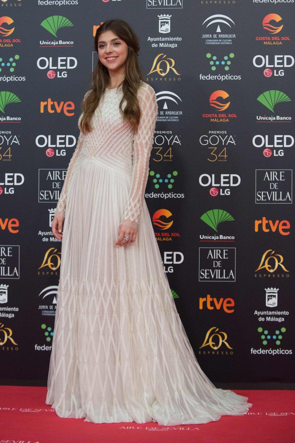 Carmen Arrufat en la alfombra roja de los Premios Goya 2020
