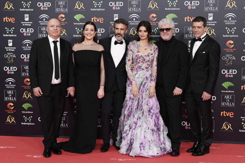 El equipo de Dolor y Gloria en la alfombra roja de los Premios Goya 2020