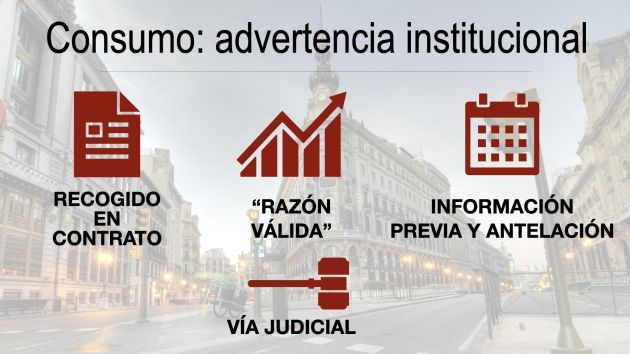 Consumo: advertencia institucional.