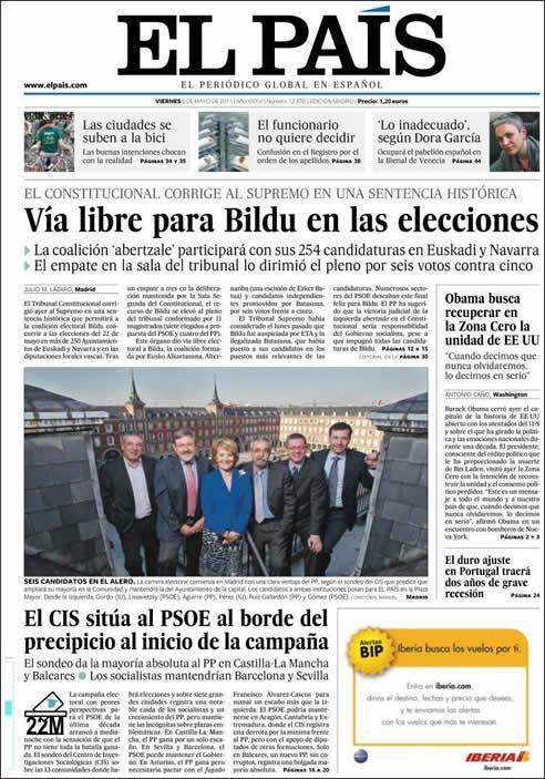 """El País: """"Vía libre para Bildu en las elecciones"""""""