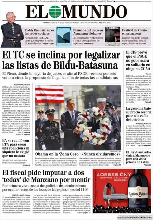 """El Mundo: """"El TC se inclina por legalizar las listas de Bildu-Batasuna"""""""