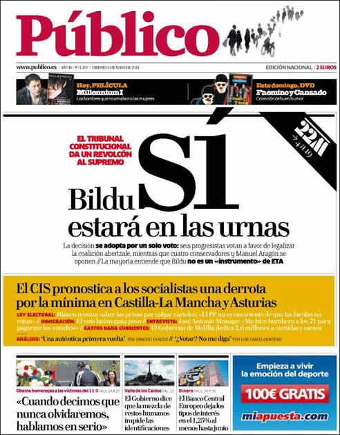 """""""La decisión se adopta por un solo voto: seis progresistas votan a favor de legalizar la coalición abertzale, mientras que cuatro conservadores y Manuel Aragón se oponen"""""""