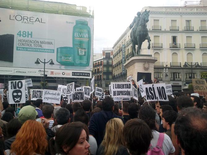 La protesta del movimiento #15M en la Puerta del Sol