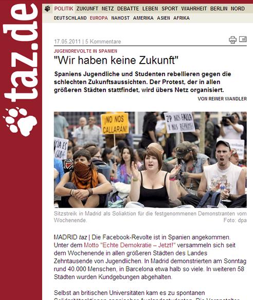 La prensa internacional recoge las protestas del #15M en España