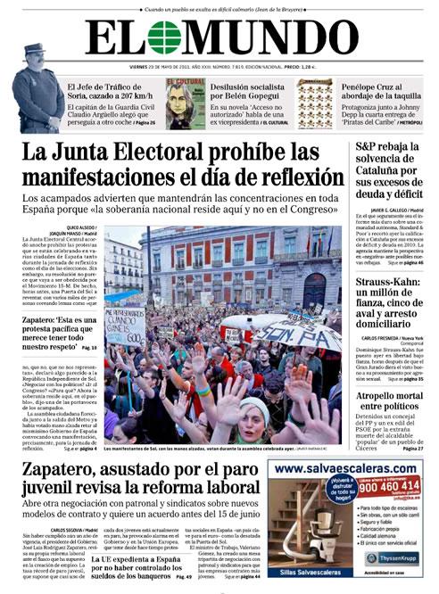 Las portadas de los periódicos sobre la decisión de la Junta Electoral Central (21/05/2011)