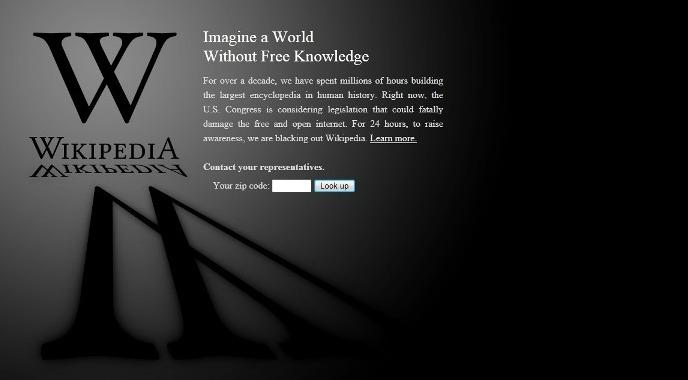 Wikipedia se va a negro por la SOPA