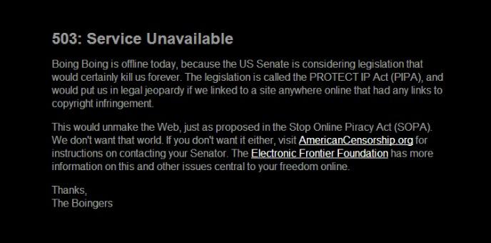 Boing Boing se va a negro contra la SOPA