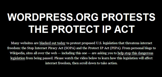 Wordpress se va a negro contra la SOPA