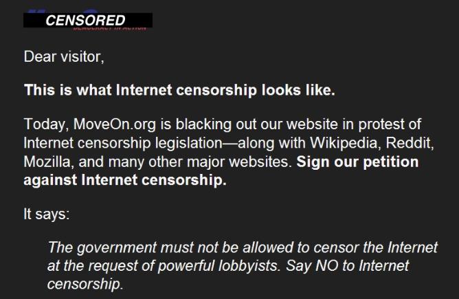 MoveOn se va a negro contra la SOPA