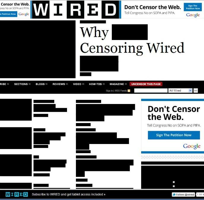 """Wired, """"censurada"""" contra la SOPA"""
