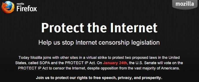Mozilla se va a negro contra la SOPA