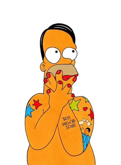 Caricatura del diseñador Marc Jacobs realizada por el artista Alexsandro Palombo en la que se convierte en Homer Simpson