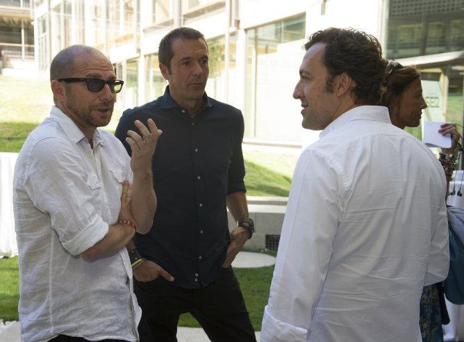 Jesús Gallego, Manu Carreño y José Antonio Ponseti tras la presentación de la nueva temporada de la Cadena SER