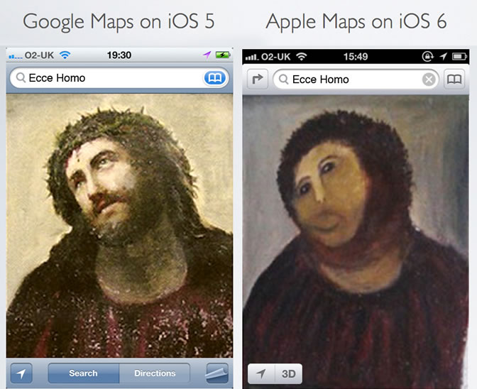 "El portal All Things Digital, del grupo The Wall Street Journal, utilizó la popular imagen del ""eccehomo"" de Borja, en España, para comparar Apple Maps y Google Maps"