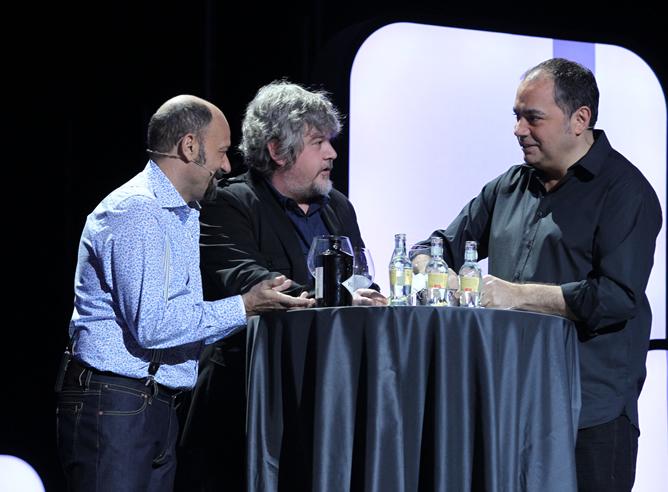 Javier Cansado, Javier Coronas y Pepe Colubi durante su actuación en la gala