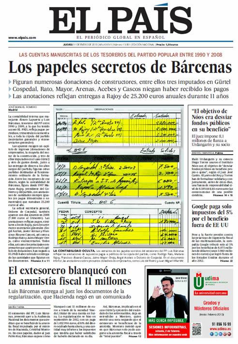 Portada de 'El País' sobre la contabilidad secreta de Bárcenas