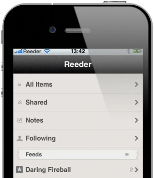 Y si Press es la mejor lector RSS para Android, Reeder lo es para iPhone.
