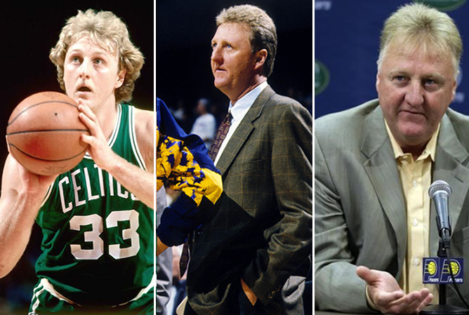 Larry Bird, de jugador en Boston, y como entrenador y manager en Indiana.