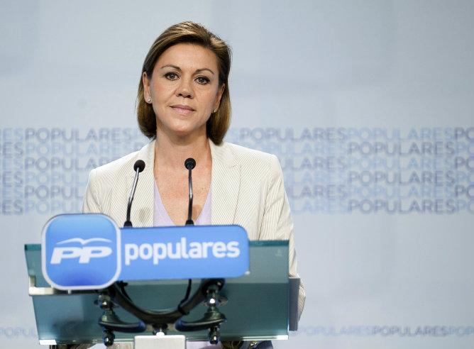 María Dolores de Cospedal ha leído una declaración institucional en la sede de Madrid, con motivo del anuncio de la abdicación del rey