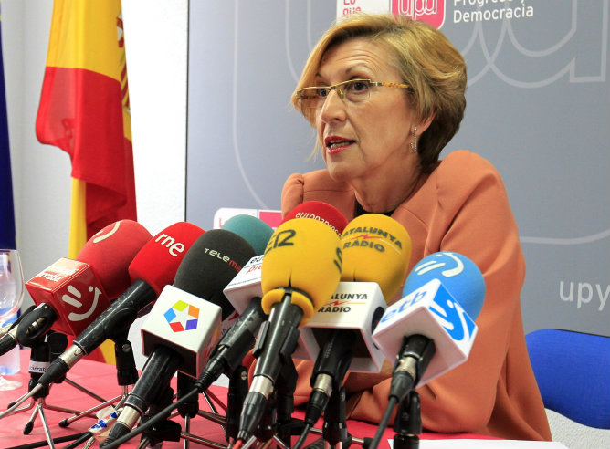 La líder y portavoz nacional de UPyD, Rosa Díez, en una comparecencia este lunes en la sede de la formación en Bilbao