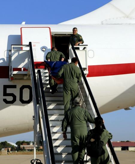 Avión medicalizado que repatriará al religioso contagiado por ébola.