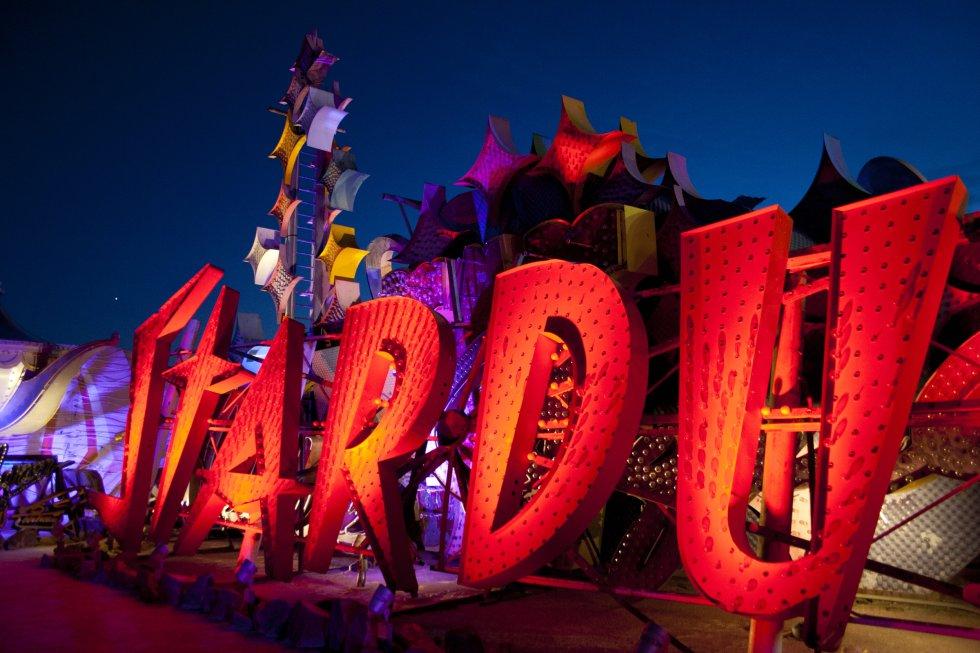 El cartel del famoso casino 'Stardust', durante la noche resulta impresionante.