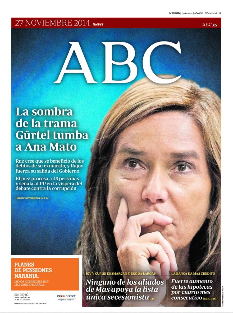 Ana Mato dimite: así lo reflejan las portadas de los periódicos