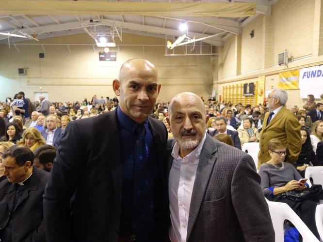 Paco Jémez y Sebas Álvaro, protagonistas de la noche al ser dos de los galardonados por sus buenas acciones.