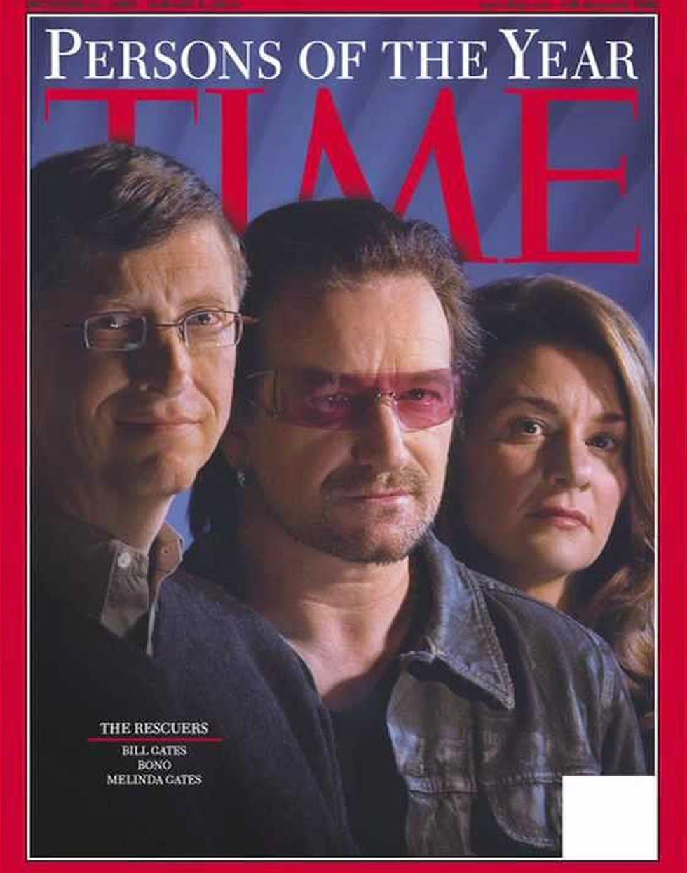 Bono (de U2), Bill Gates y Melinda Gates, portadas de la revista