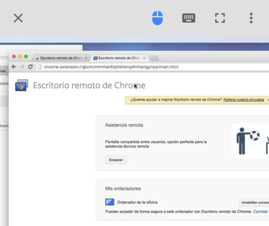 La aplicación 'Chrome Remote Desktop' en un Mac