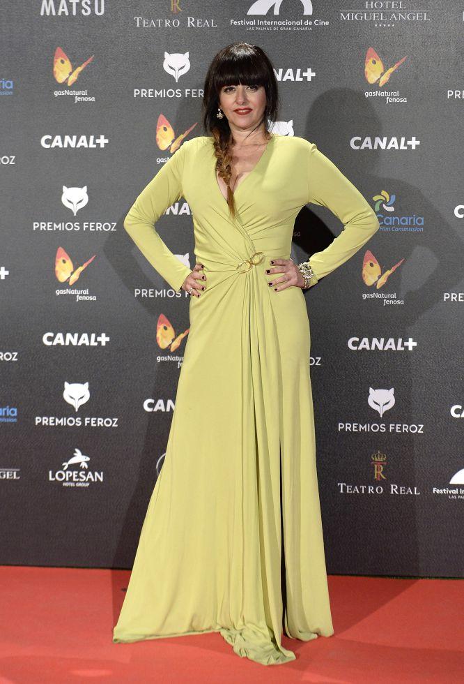 La actriz Yolanda Ramos, de verde pistacho, en los Feroz