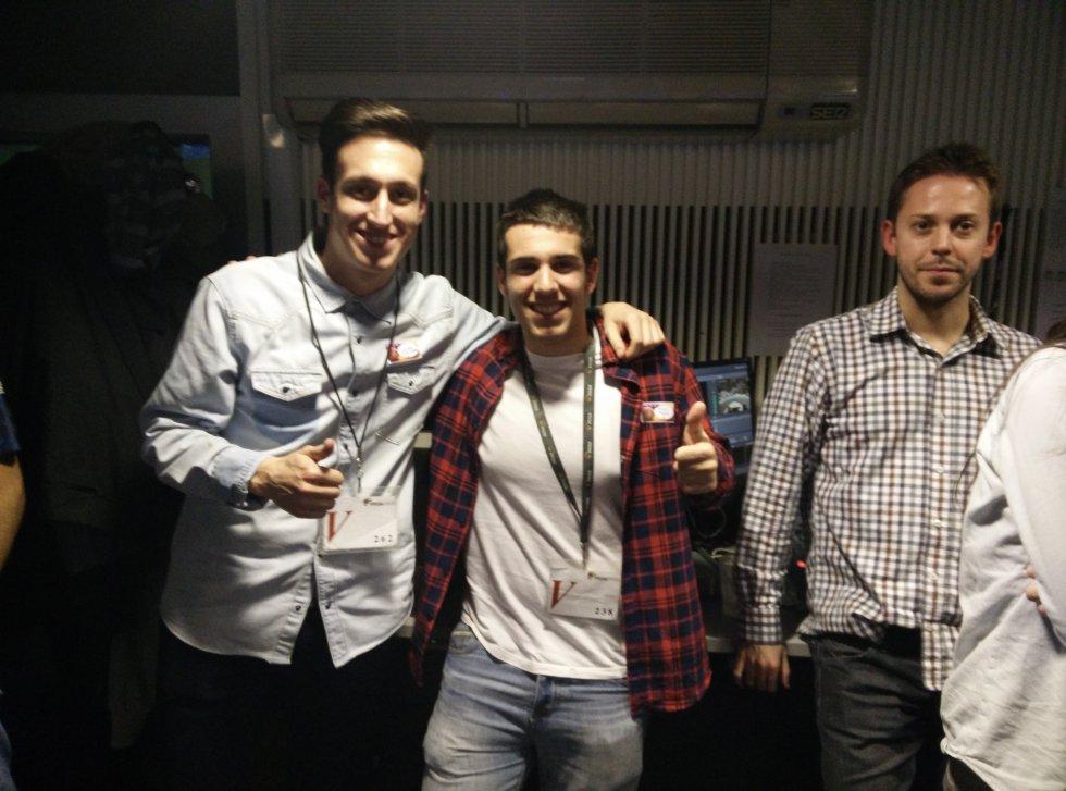 Javier Gurucharri, Javier Birlanga y Borja Cuadrado, en la pecera.