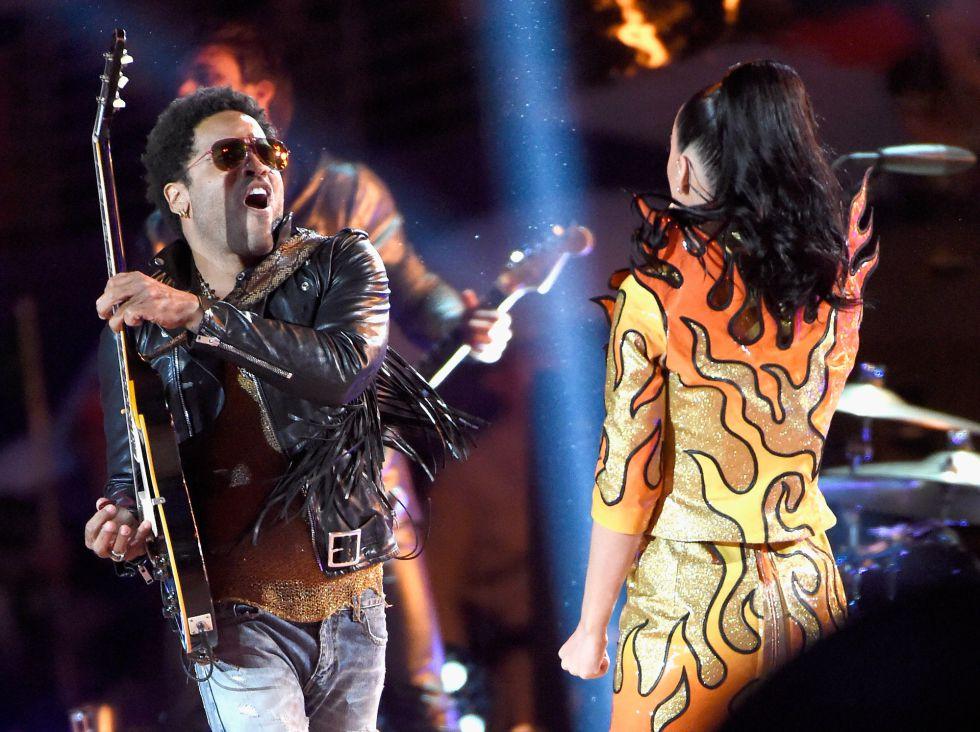 Lenny Kravitz y Katy Perry, en la Super Bowl.