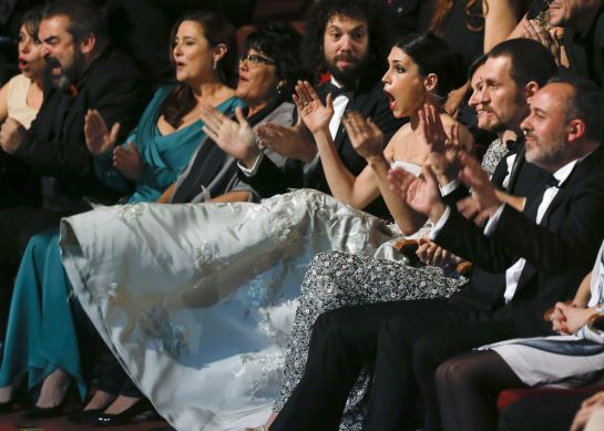 "Spanish actress Nerea Barros (C) reacts after hearing that she won the Best New Actress award for her role in the film ""Isla Minima"" during the Spanish Film Academy's Goya Awards ceremony in Madrid, February 7, 2015. REUTERS/Andrea Comas (SPAIN - Tags: ENTERTAINMENT)"