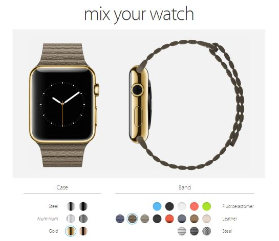 La web 'Mix Your Watch' te permite crear tu versión del Apple Watch con los colores y materiales ya anunciados