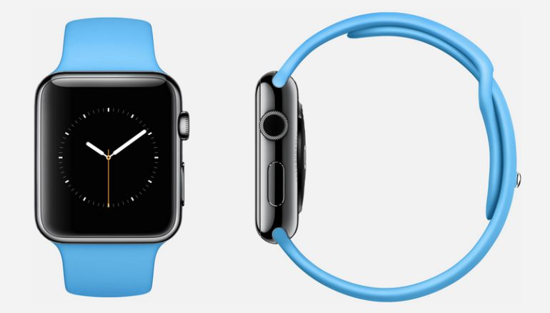 Apple Watch negro con correa deportiva en azul