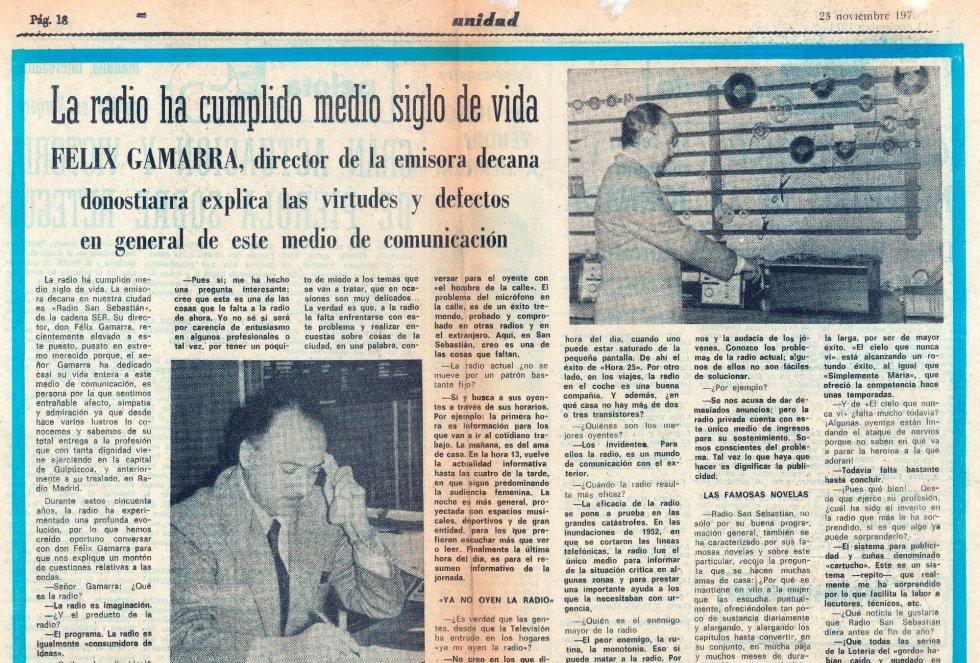 """Artñiculo en el diario """"Unidad"""" sobre los 50 años de Radio San Sebastián"""