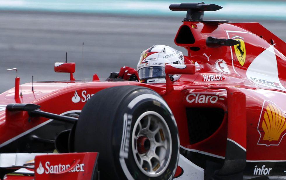 Sebastian Vettel, en los últimos giros de la carrera como virtual ganador del gran premio.