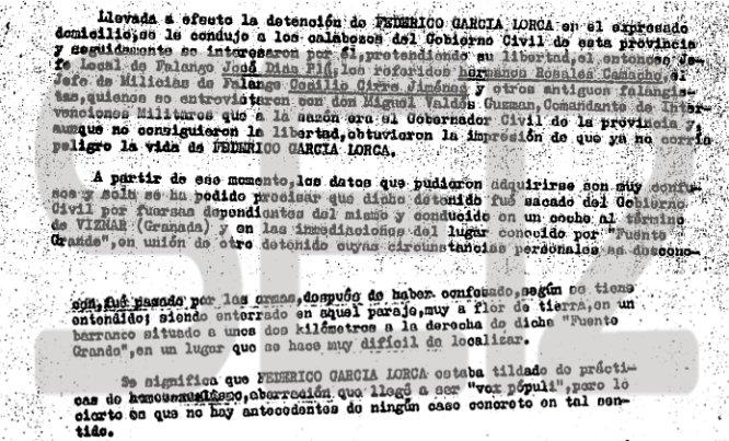 Fragmento de la nota informativa de la Tercera Brigada Regional de Investigación Social de la Jefatura Superior de Policía de Granada sobre la muerte del poeta.