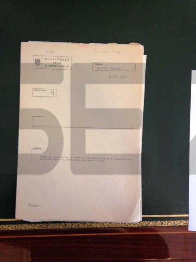 Carpeta de archivo donde se encuentra la documentación de 1965 sobre la muerte de Lorca.
