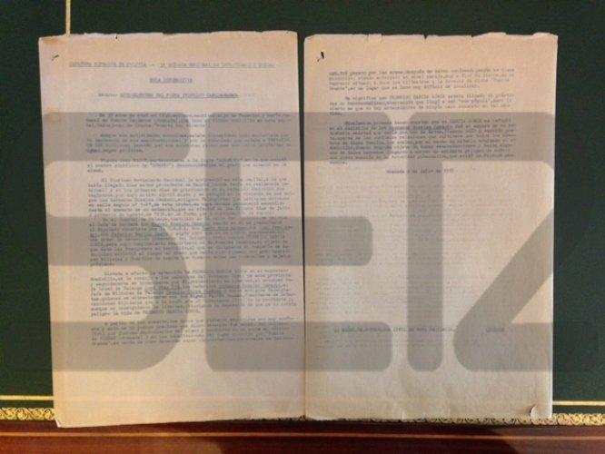 Nota informativa de la Tercera Brigada Regional de Investigación Social de la Jefatura Superior de Policía de Granada sobre la muerte del poeta.