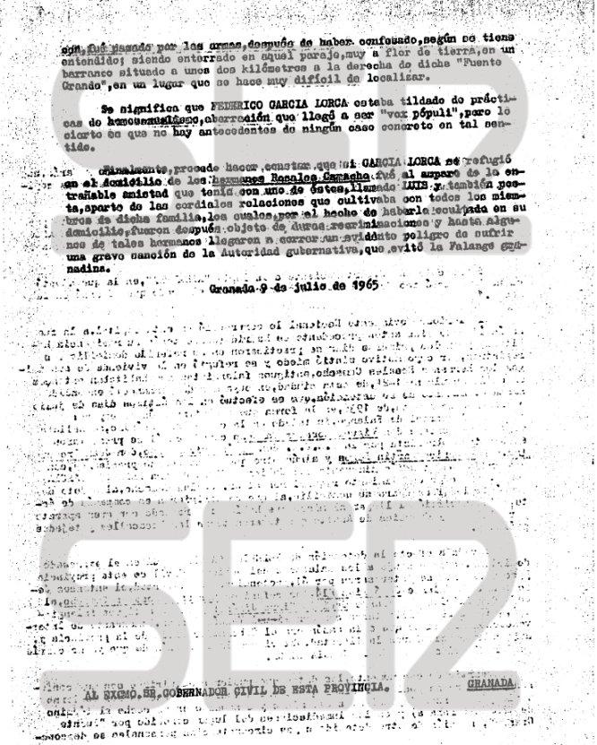 Segunda parte de la nota informativa de 1965 sobre los últimos días de Federico García Lorca.