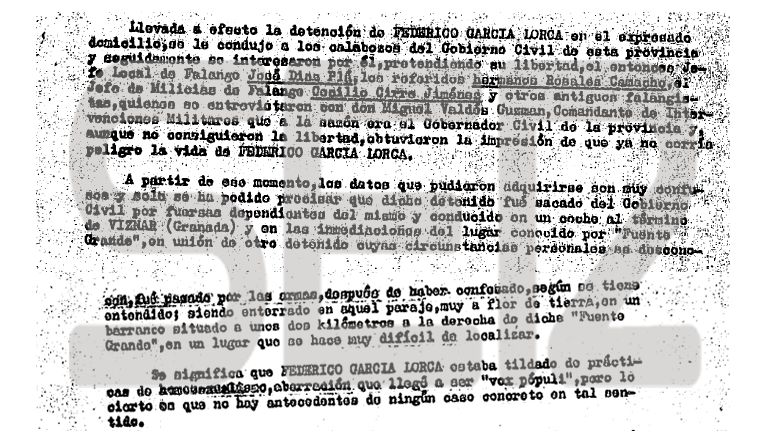 Documentos Muerte Lorca La Versión Franquista Del Asesinato