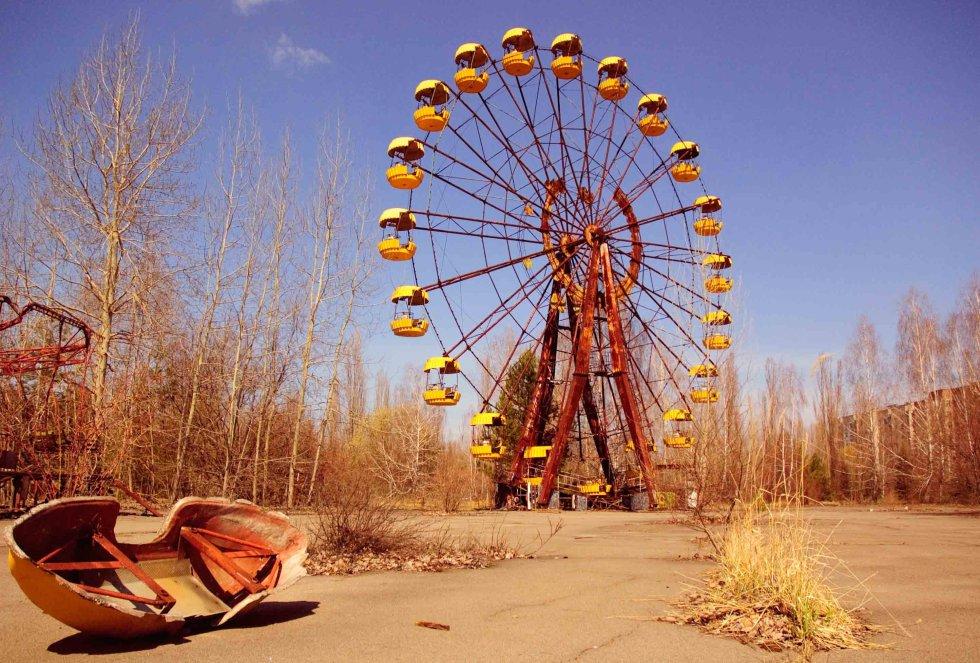 Una noria abandonada en la localidad de Pripyat, cerca de Chernobil