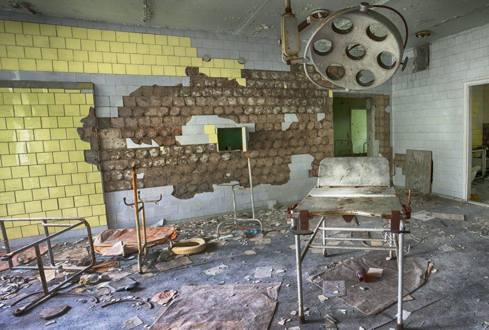 La sala de operaciones del hospital Pripyat utilizado para dar a luz antes de la catástrofe nuclear de 1986
