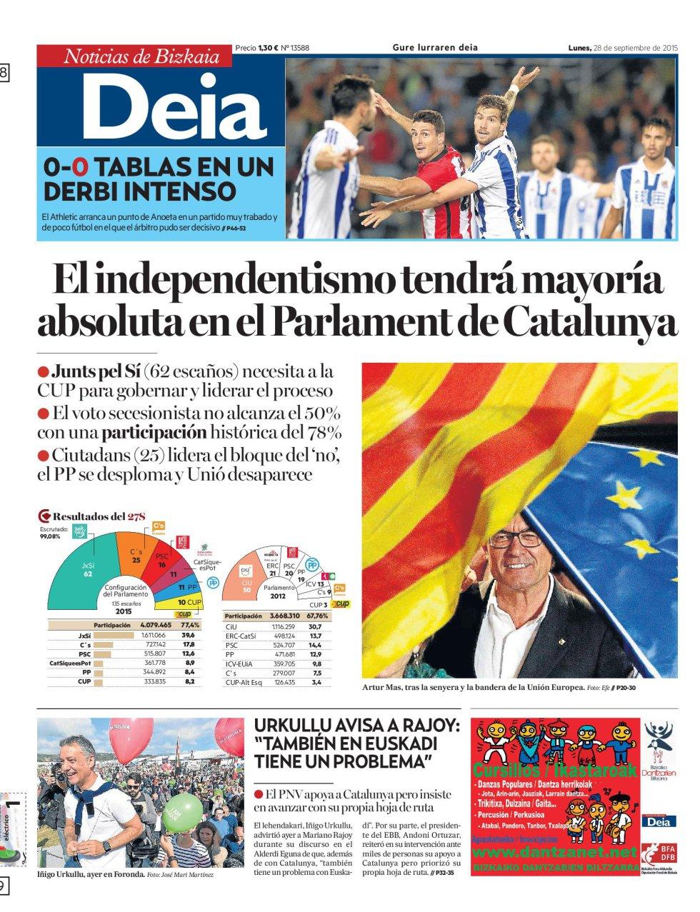 Las elecciones catalanas, en las portadas