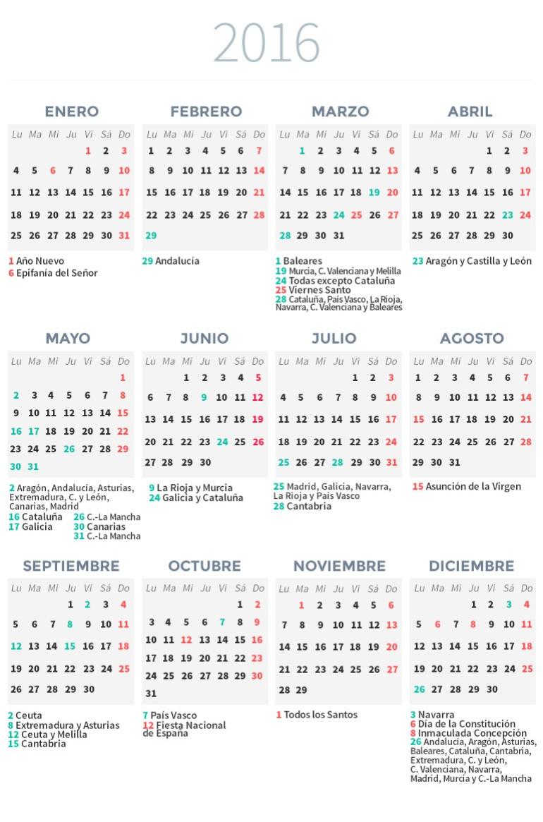 Calendario Laboral De Cataluna.Calendario Laboral 2016 Economia Cadena Ser