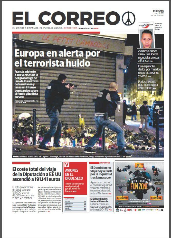 """""""Europa en alerta por el terrorista huido""""."""