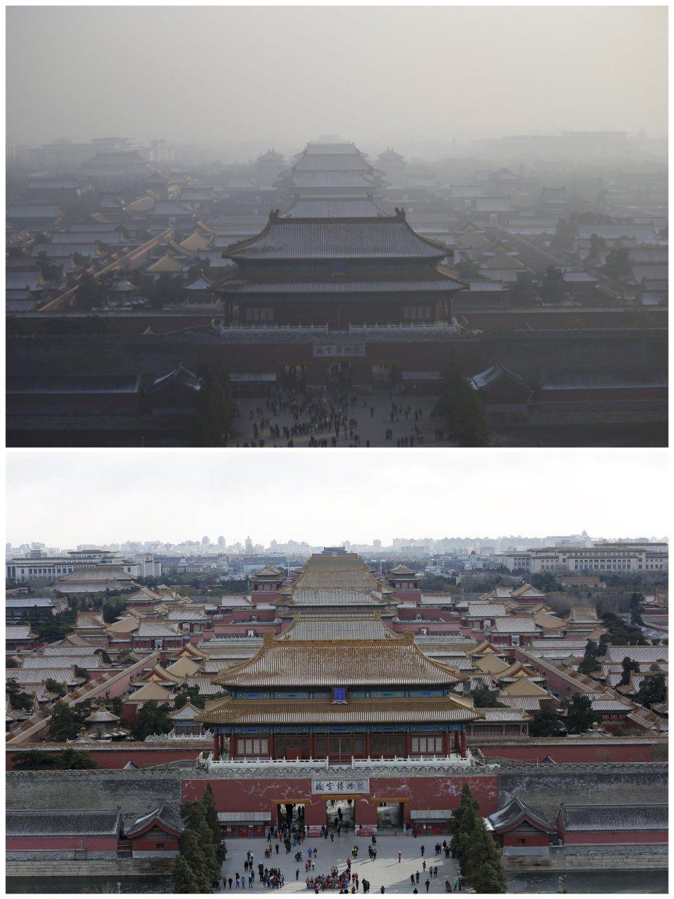 La ciudad prohibida, bajo la contaminación y en un día soleado.